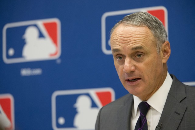 Le commissaire du baseball majeur, Rob Manfred.... (Photo Mary Altaffer, archives AP)