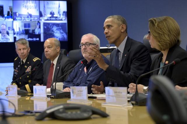 Barack Obama s'adresse aux médias depuis le quartier... (AP)