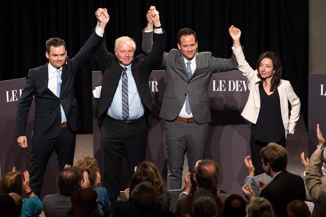 Paul St-Pierre-Plamondon, Jean-Francois Lisée, Alexandre Cloutier et Martine... (Jacques Boissinot, archives PC)