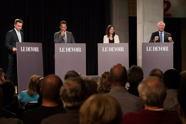 Les quatre candidats à la direction du Parti... (Jacques Boissinot, archives PC)