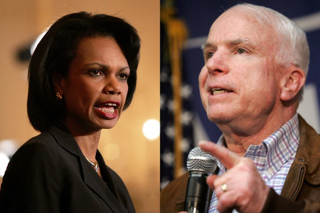 Condoleezza Rice et John McCain... (Photos d'archives AFP)