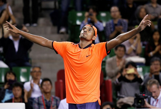 Nick Kyrgios célèbre sa victoire face à David... (PHOTO KIM KYUNG-HOON, REUTERS)