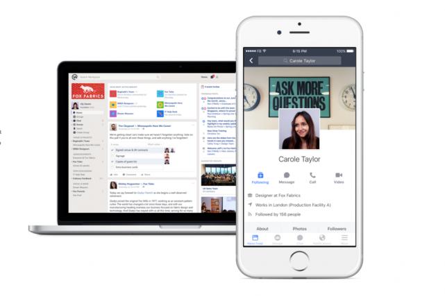 Facebook a lancé lundi Workplace, déclinaison du réseau social à destination... (Image tirée de Workplace)