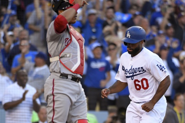 Andrew Toles, des Dodgers, a inscrit le point... (Photo AP)