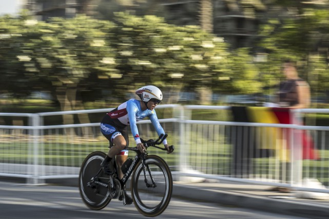 Karol-Ann Canuela terminé 19eau contre-la-montre individuel, mardi. Elle... (Khaled Desouki, AFP)