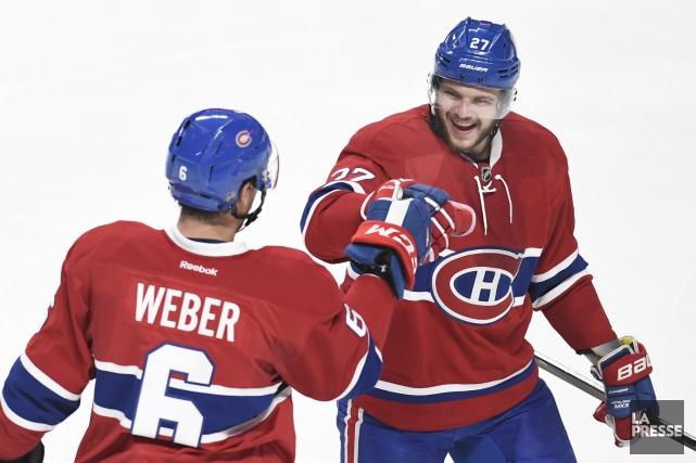 Shea Weber et Alex Galchenyuk devraient être des... (La Presse photo Bernard Brault)