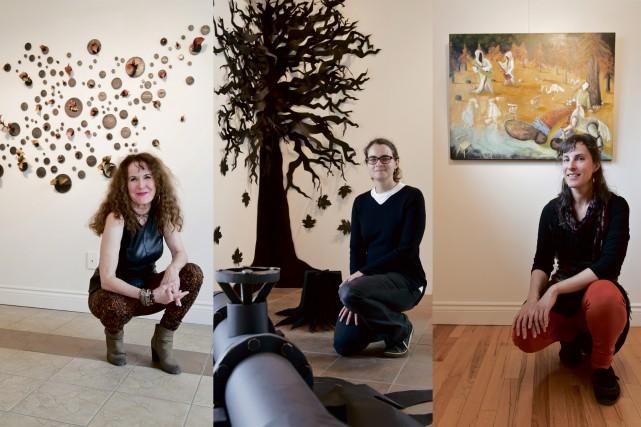 Les artistes Lorraine Dagenais, Stéphanie Morissette et Sandra... (Spectre Média, Jessica Garneau)