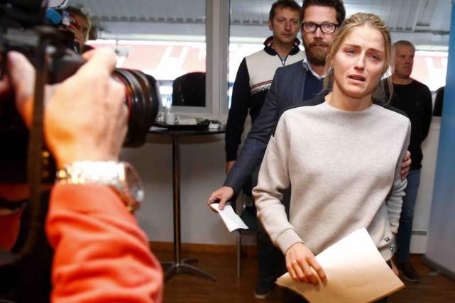 La triple médaillée olympique Therese Johaug était dévastée,... (AP, Hakon Mosvold)