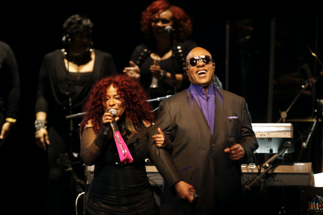 La chanteuse Chaka Khan et Stevie Wonder, la... (AP, Jim Mone)