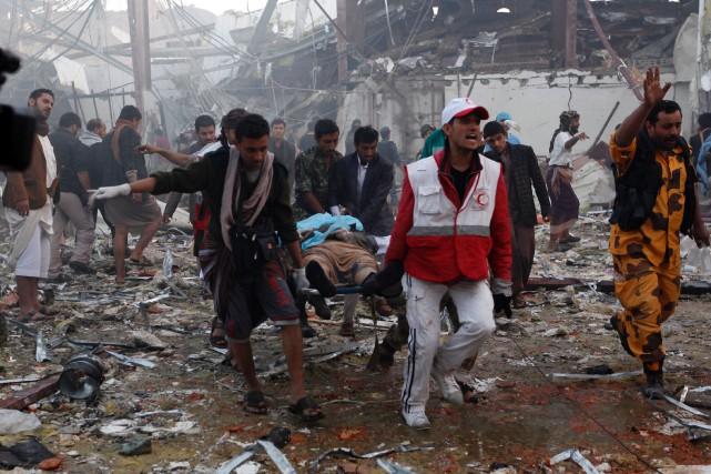 Les frappes aériennes du 8 octobre avaient ciblé... (PHOTO MOHAMMED HUWAIS, AFP)