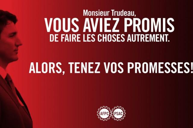 Les affiches imprimées de l'Alliance de la fonction... (Tirée du site Web syndicatafpc.ca/)