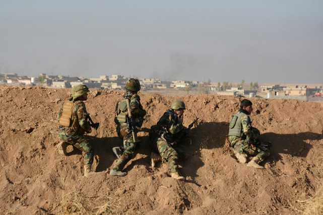 Des membres des peshmergas - combattants kurdes -... (photo REUTERS)