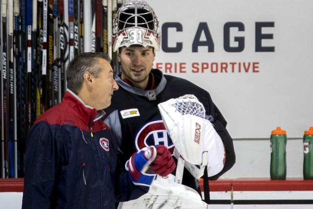 Carey Price avec l'entraîneur des gardiens du Canadien,... (Archives, La Presse)