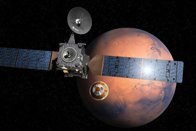 TGO (Trace gas orbiter) et Schiaparelli constituent le... (IMAGE D. Ducros, ESA via AP)