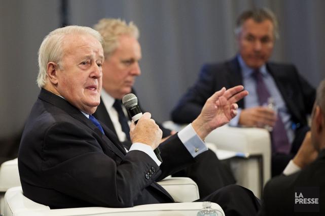 Brian Mulroneys'est exprimé devant la Chambre de commerce... (Alain Roberge, La Presse)