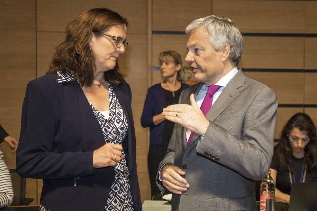 La commissaire européenne au Commerce, Cecilia Malmström, en... (AP, Olivier Matthys)