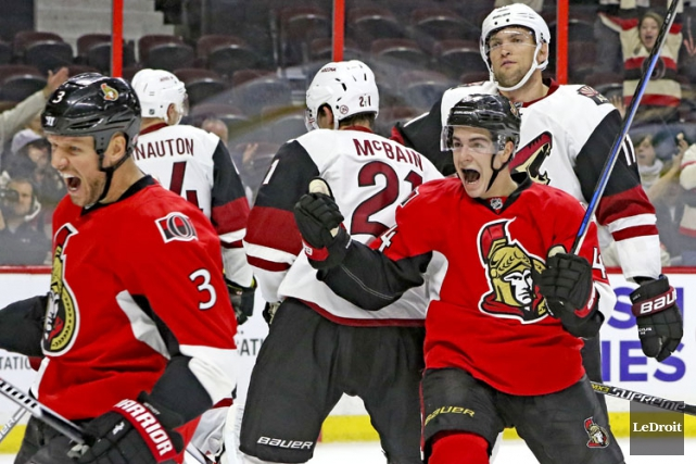 Kyle Turris, Tom Pyatt, Chris Kelly, Mark Stone et Erik Karlsson ont récolté un... (PHOTO LE DROIT)