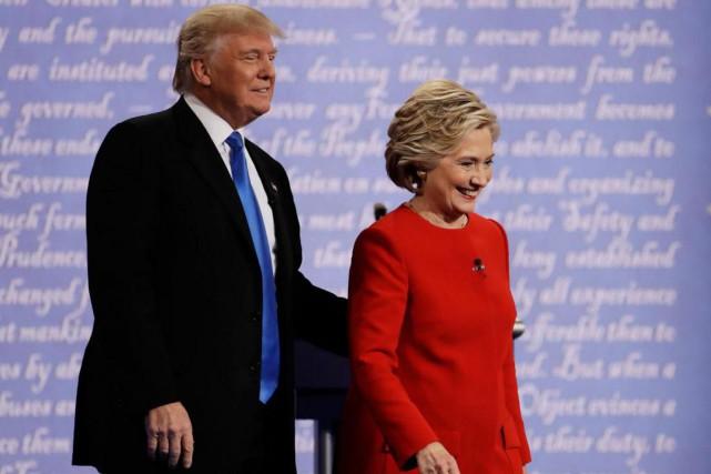 Les candidats à la Maison-Blanche Donald Trump et... (Photo Julio Cortez, archives Associated Press)