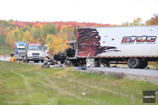 Le camionneur blessé était à bord d'un véhicule... (Photo La Voix de l'Est)