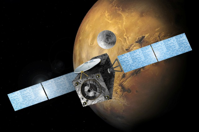 La sonde et l'atterrisseur Schiaparelli, qui ont effectué... (ILLUSTRATION FOURNIE PAR L'ESA)