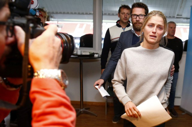 Therese Johaug, à droite, lors d'une conférence de... (Photo Hakon Mosvold Larsen, archives NTB scanpix via AP)