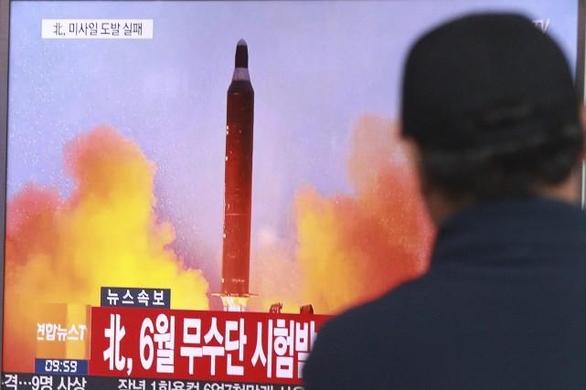Ce tir avait été salué par le leader... (PHOTO Ahn Young-joon, archives AP)