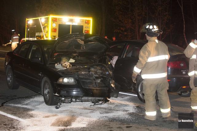 Un accident impliquant trois véhicules est survenu, vers... (Sylvain Mayer, Le Nouvelliste)