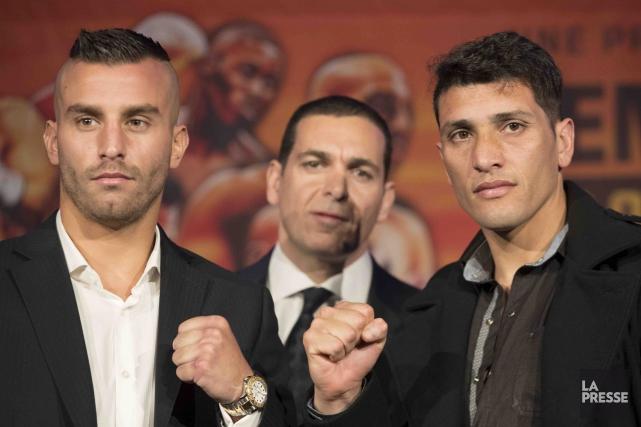 Les boxeurs David Lemieux et Cristian Rios entourent... (La Presse, Ivanoh Demers)