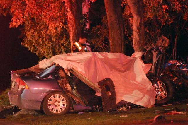 La scène de l'accident, dans le rang Saint-Paul.... (Archives Le Progrès-Dimanche, Michel Tremblay)