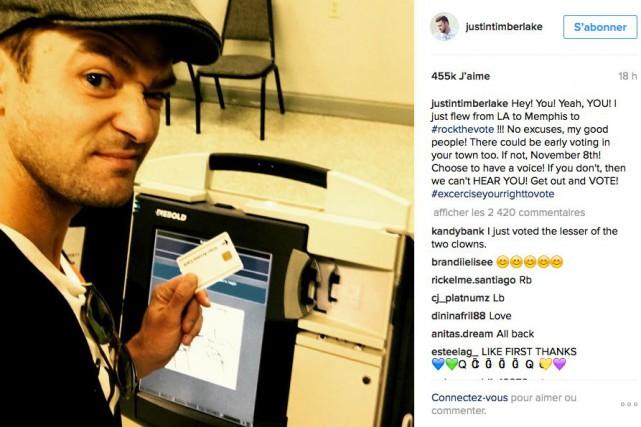Justin Timberlake a pris une photo de lui... (CAPTURE D'ÉCRAN TIRÉE D'INSTAGRAM)