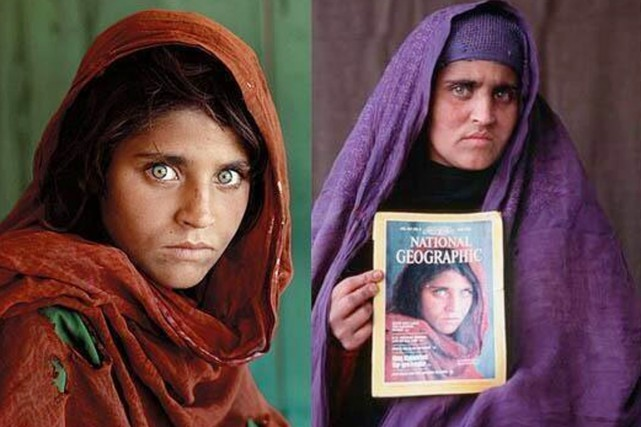 La saisissante image de Sharbat Gula (à gauche),... (PHOTOS STEVE MCCURRY, NATIONAL GEOGRAPHIC/TWITTER)
