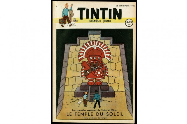 Le temple du soleil. Illustration en couleur du... (Photo Hergé/Moulinsart, fournie par le Grand Palais)