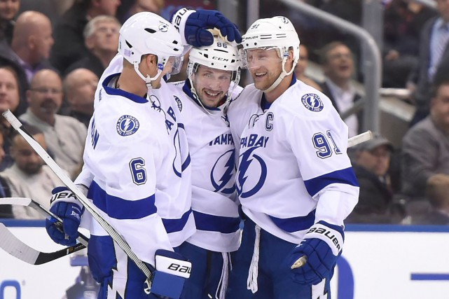 Anton Stralman (6), Nikita Kucherov (86) et Steven Stamkos... (Photo Dan Hamilton, USA Today Sports)