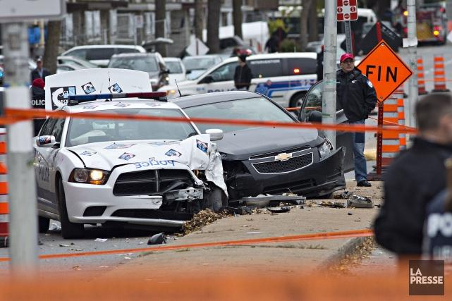 L'homme au volant d'un Chevrolet Cruze aurait accéléré... (PHOTO PATRICK SANFAÇON, LA PRESSE)