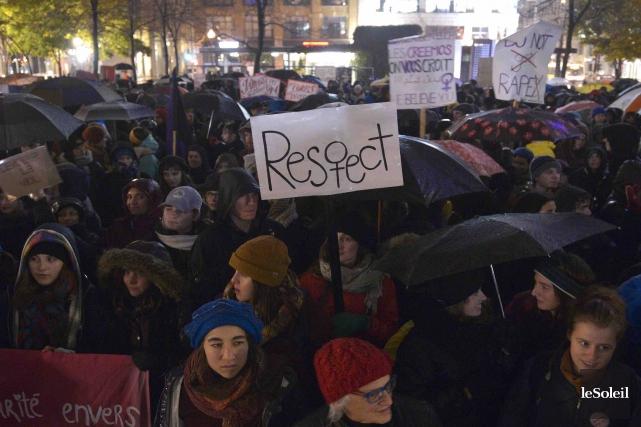 Une manifestation contre la culture du viol s'est... (Photothèque Le Soleil, Yan Doublet)