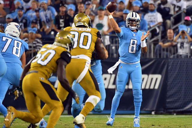 Le quart-arrière des Titans du Tennessee Marcus Mariota... (Photo Christopher Hanewinckel, USA Today Sports)