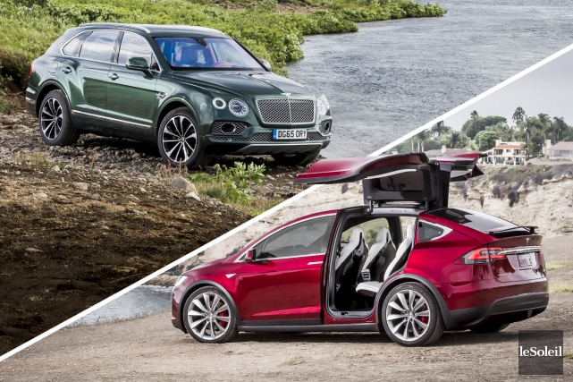 Bentley Bentayga et Tesla Model X... (Fournies par Bentley et Tesla, infographie Le Soleil)