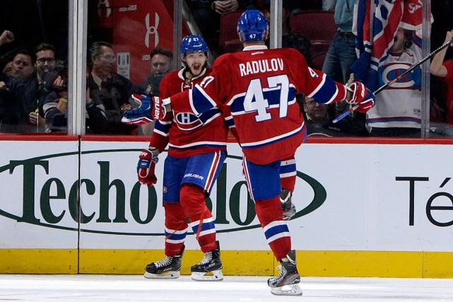 Alex Galchenyuk et Alexander Radulov... (PHOTO ERIC BOLTE, ARCHIVES USA TODAY)