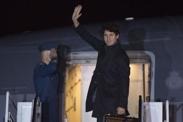 Justin Trudeau juste avant de partir pour la... (Photo La Presse Canadienne)