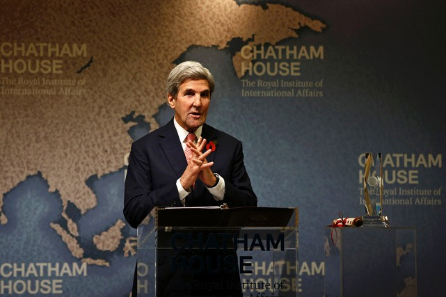 Le secrétaire d'État John Kerry était de passage... (PHOTO PETER NICHOLLS, AFP)