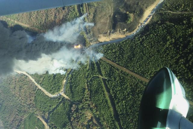 Cette photo aérienne prise par la Commission forestière... (AP, Phil Montgomery)