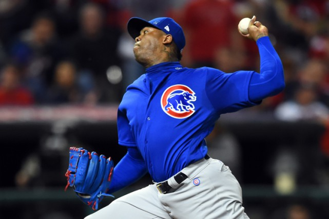 Aroldis Chapman a obtenu quatre retraits dans le match... (PHOTO REUTERS)