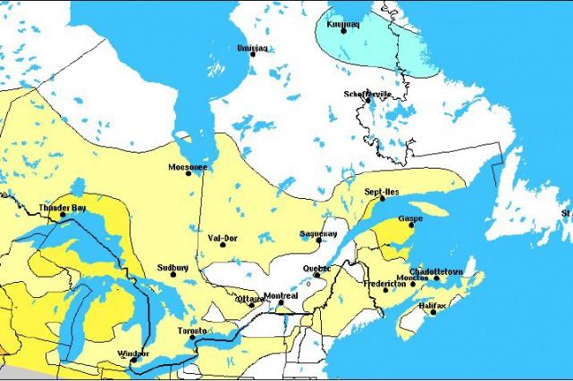 Sur cette carte, on constate que le Saguenay-Lac-Saint-Jean... (Environnement Canada)