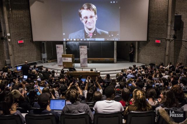 Edward Snowden prenait la parole dans le cadre... (PHOTO ÉDOUARD PLANTE-FRECHETTE, LA PRESSE)