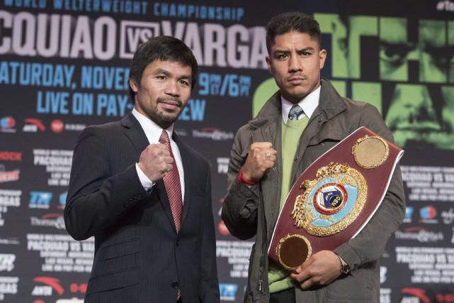 Manny Pacquiao (à gauche) affrontera Jessie Vargas, ledétenteur... (Photo Loren Townsley, AP)