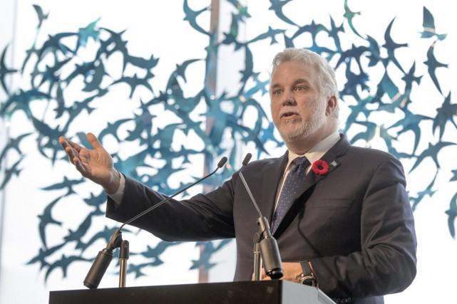 Le premier ministre Philippe Couillard a inauguré, vendredi,... (PHOTO LA PRESSE CANADIENNE)