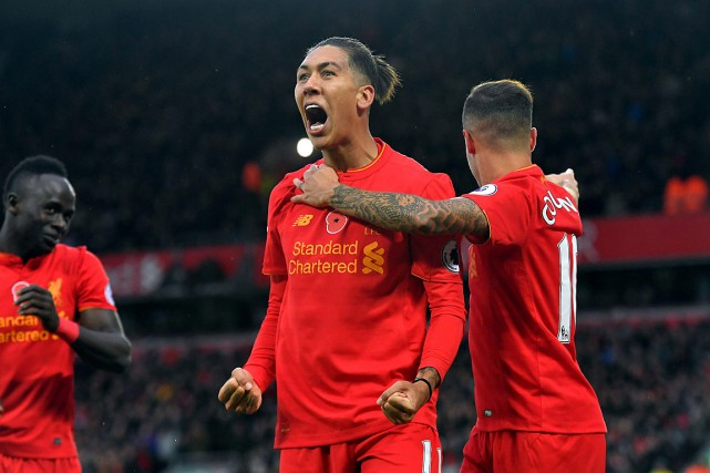 Roberto Firmino a inscrit le quatrième but de... (Photo Dave Howarth, AP/PA)