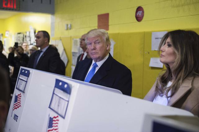Donald Trump a voté à l'école publique 59... (AFP, Mandel Ngan)