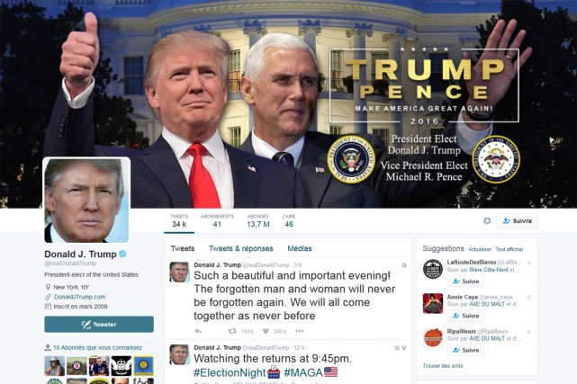Pour son premier tweet en tant que président élu des États-Unis, Donald Trump a... (CAPTURE D'ÉCRAN)