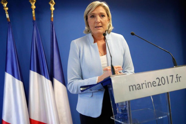 La chef du Front national, Marine Le Pen,... (PHOTO CHRISTOPHE ENA, ASSOCIATED PRESS)